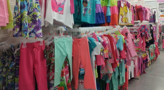 The girls' aisle with mostly pink clothes
