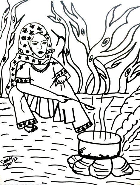 woman cooking fire